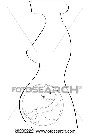 Clipart Of A Pregnant Woman K8203222