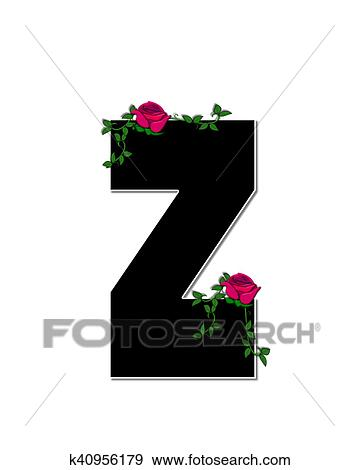 Stock Illustration Of Alphabet Rose Trellis Z K40956179 Search