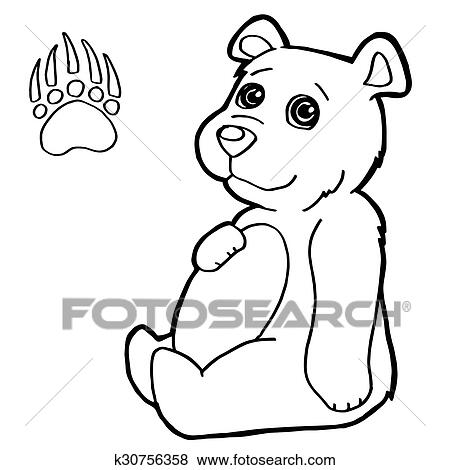 Clip Art of bear with paw print Coloring Pages k30756358 - Search ...