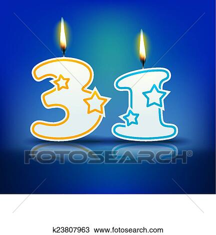 Birthday Candle Number 31 Clipart K23807963 Fotosearch