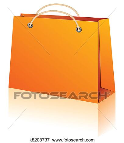 Clip Art of Orange shopping bag. k8208737 - Search Clipart ...