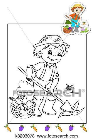 Colección de ilustraciones - libro colorear, de, el, trabaja ...