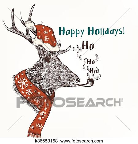 Christmas Humor Clip Art.New Year And Christmas Humor Background With Smoke Deer In Red Scarf And Hat Like Santa Happy Holidays Clip Art