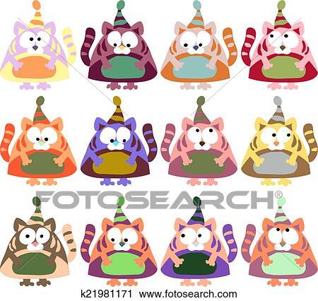 Clipart orsi in cappelli inverno colorato vettore - Animali in inverno clipart ...