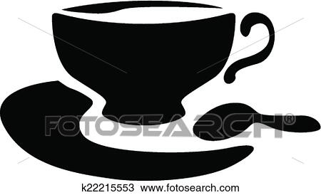 clipart of silhouette of a teacup and teaspoon k22215553 search
