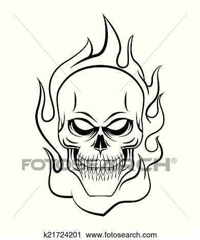 Clipart Of Skull Fire K21724201