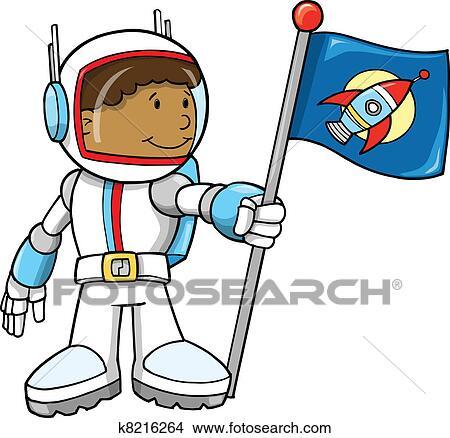 かわいい 宇宙飛行士 ベクトル イラスト クリップアート切り張り