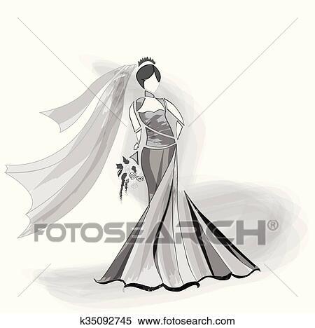 花嫁 服を着せられる 中に ガウン そして ベール 保有物 Flowers