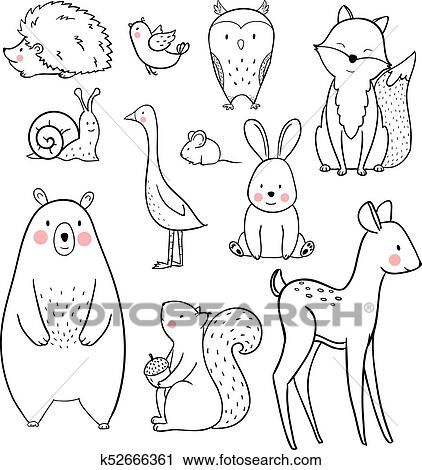 Clipart Of Baby Animal Vector Set K52666361