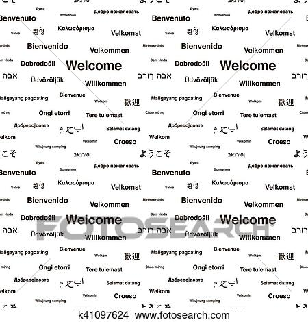 Black Welcome Phrases In Different Languages On White Seamless Pattern Stock Illustration K41097624 Fotosearch