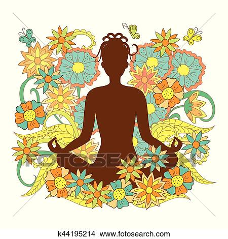 Brown Silhouette Girl In Yoga Lotus Pose On Floral Background Clipart K44195214 Fotosearch