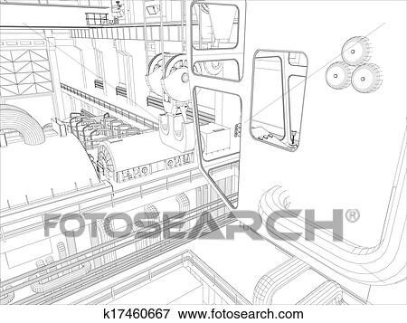 Clip Art Of Gantry Crane In A Factory Environment Wire Frame