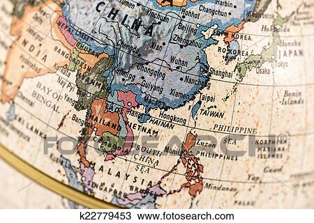 Stock photo of globe east and southeast asia k22779453 search close up of east and southeast asia in the colorful world map publicscrutiny Image collections