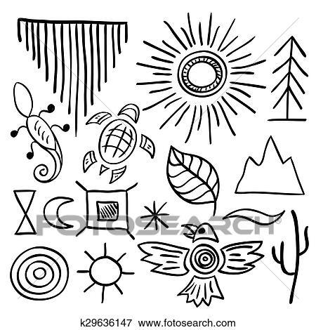 Clip Art Of Hand Drawn Doodle Vector Native American Symbols Set