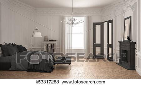 Modern Scandinavian Bedroom In Classic Vintage Living Room With Fireplace Luxury White And Gray Interior Design Stock Illustration K53317288 Fotosearch,Modern Palm Springs Interior Design