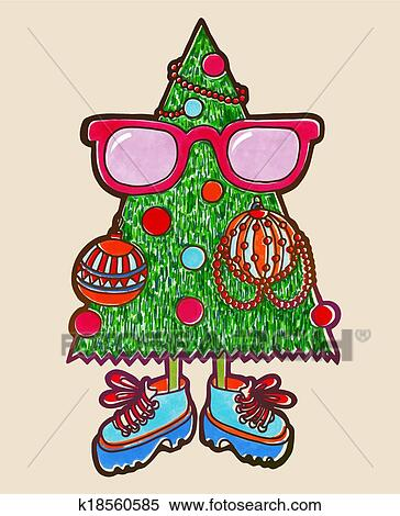 Clipart Of Original Marker Drawing Of Animated Christmas Tree