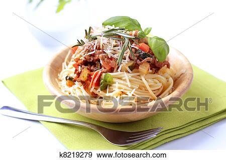 Stock Photograph Of Spaghetti And Ragu Alla Bolognese K8219279
