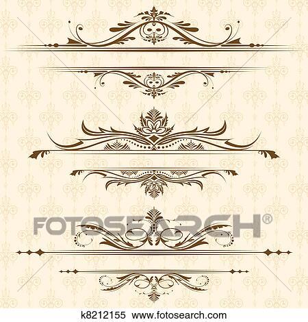 Clipart Of Vintage Floral Border K8212155