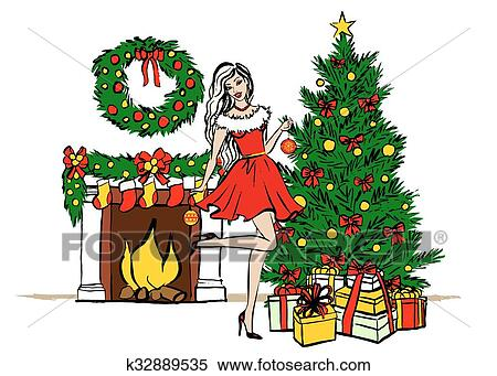 Clipart Of Woman Decorating Christmas Tree K32889535 Search Clip