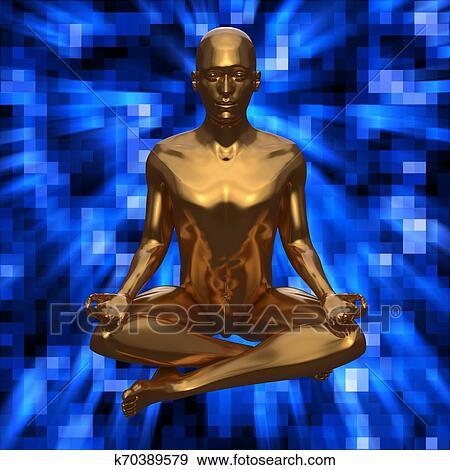 zen lotus pose stylized golden man figure on blue