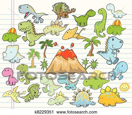 かわいい 恐竜 要素を設計しなさい Vecto クリップアート切り張り