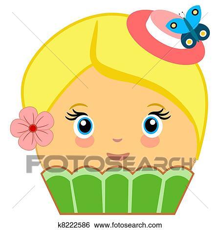 かわいい Cupcake 漫画 ファッション 緑 イラスト K8222586