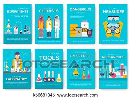Clipart of Biohazard chemists brochure cards set. chemistry lab ...