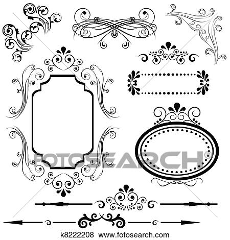 Clip Art of Border and frame designs k8222208 - Search Clipart ...