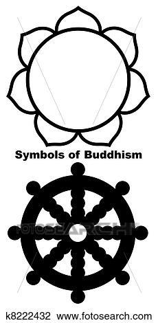 Clip art of buddhist lotus flower k8222432 search clipart buddhist lotus flower in black silhouette isolated on white background mightylinksfo
