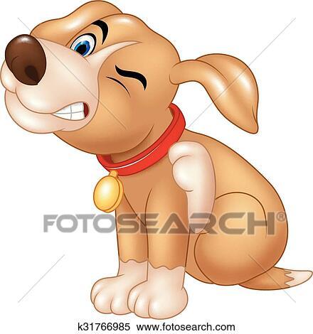 Cartone animato cane grattamento un prurito clipart