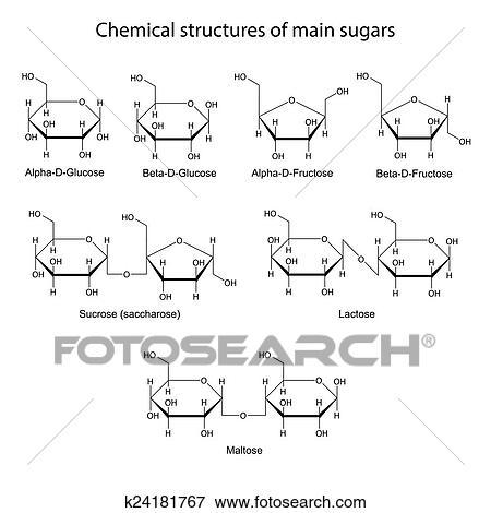 Chemische Strukturen Von Haupt Zucker Stock Illustration