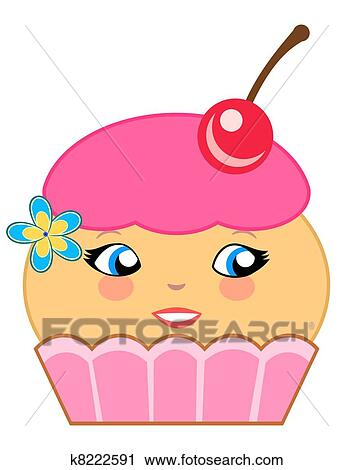 clipart of cute cupcake cartoon couture pink k8222591 search clip