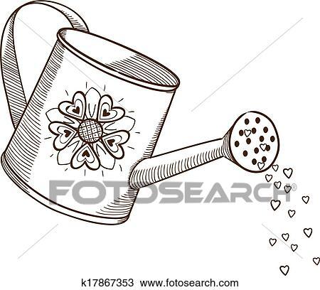 Gießkanne, mit, flowers. Clipart | k17867353 | Fotosearch