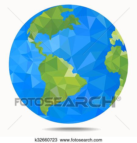 La Terre Planet Polygonal Style Clipart K32660723 Fotosearch