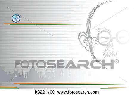 Mahatma ガンジー 上に Indian 都市scape クリップアート切り張り