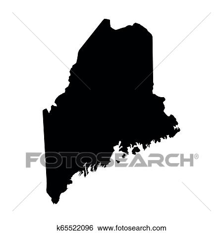 Maine State Of Usa Solid Black Silhouette Map Of Country