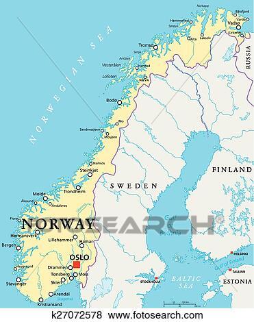 Norwegen Politisch Landkarte Clip Art K27072578 Fotosearch