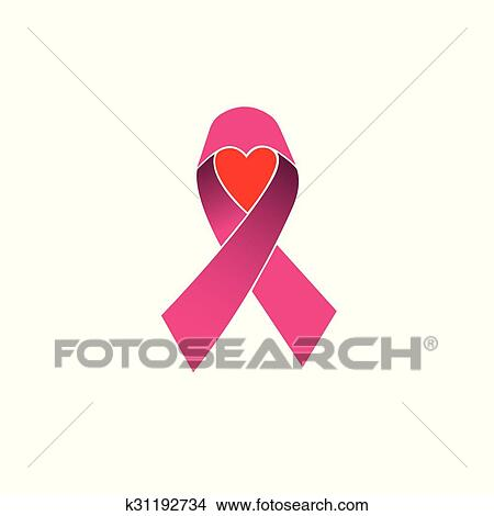 e7b558ed5df Pink ribbon, breast cancer awareness vector icon isolated on white  background with heart or love symbol of hope Clipart