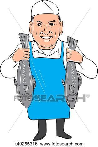 Poissonnier, tenue, vendant poisson, dessin animé Clipart ...