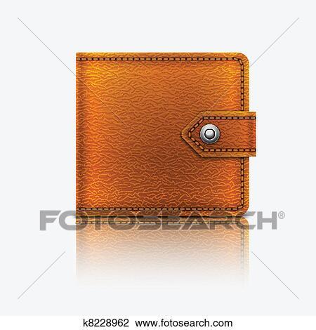 5e274fdf5d Clipart - realistico, vettore, cuoio, portafoglio., eps10. k8228962 ...