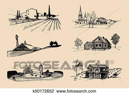 Gallery of vettore fattoria paesaggi set disegni di villa for Disegni di ville
