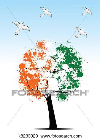 Clip art of abstract tree leafs in national flag colors in orange abstract tree leafs in national flag colors in orange white and green with flying piegons for republic day mightylinksfo