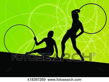 44a1a42e02a4 Activo, niñas jóvenes, calistenia, deporte, gimnastas, siluetas, en, girar,  anillos, extracto, plano de fondo, ilustración, vector