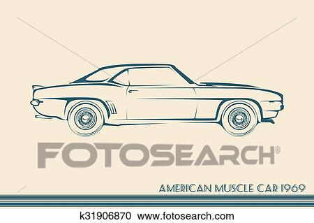 Clipart Of American Muscle Car Silhouette 60s K31906870 Search