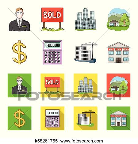 Calculator, dollar sign, new building, real estate offices  Realtor set  collection icons in cartoon, flat style vector symbol stock illustration  web