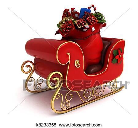 3d illustration of a christmas sleigh loaded with gifts