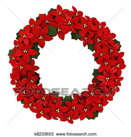 Christmas Wreath Drawing K8233653 Fotosearch