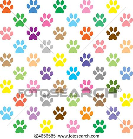 stock illustration of colorful puppy paw prints k24656585 search