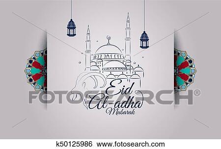 Clip art of eid al adha greeting card with goat head and mosque clip art eid al adha greeting card with goat head and mosque fotosearch m4hsunfo