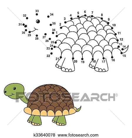 Clip Art - empate, el, lindo, tortuga, y, color, él k33640078 ...